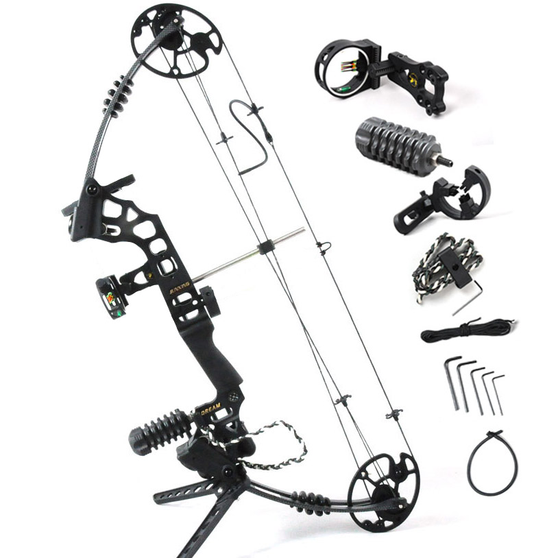 Black Dream Aluminum Alloy Compound Bow With 20-70 lbs Draw Weight Camo And Black Color for human outdoor hunting 20 pounds m110 compound bow wih black camo color high strength aluminum handle and glass fiber bow limbs for children games