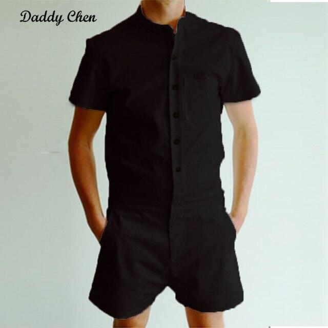 cfa3547296e5 Men s Short Pants Autumn Short Sleeve Men Rompers Trousers Male Single  Breasted Jumpsuit sweatpants Cargo Overalls