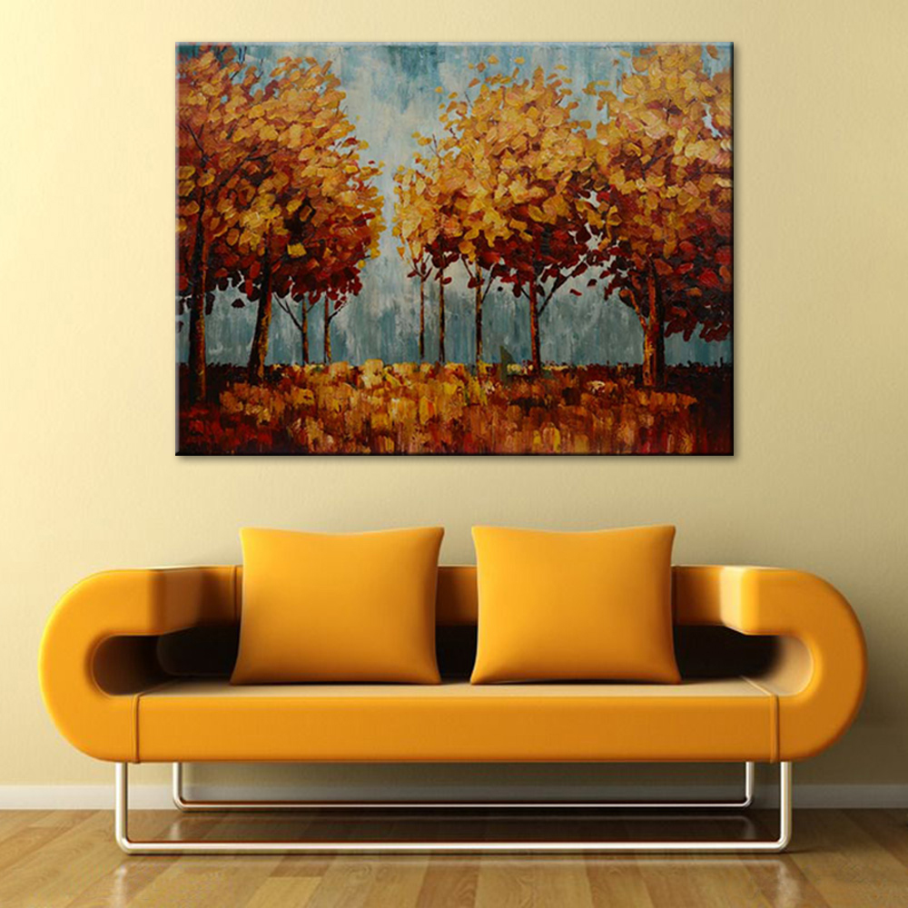 Frameless Pop Art Scenery Modern Autumn Tree Forest Hand Painted Oil ...