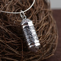 S925 silver antique craft new men and women with heart sutra ga black box pendant gift silver wholesale