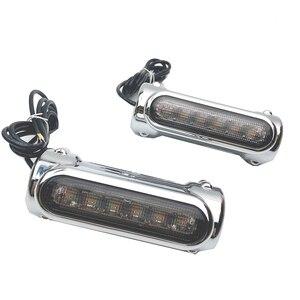 Image 2 - אופנוע התרסקות ברים LED כביש בר Switchback נהיגה אור/הפעל אות אור עבור הארלי אופני סיור נצחון שחור/כרום