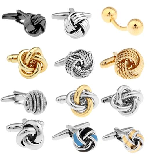 Gratis frakt Metal Knot Manschettknappar guldfärg knut design hotsale koppar material manschettknappar whoelsale & retail