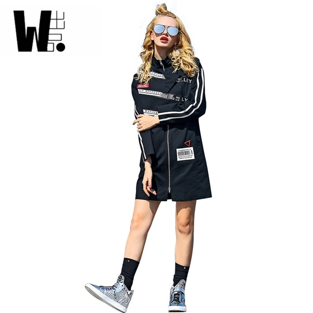 2017 nova moda feminina lazer clothing hop streetwear longo jaqueta corta-vento casacos das mulheres magras jaquetas impressos zipper