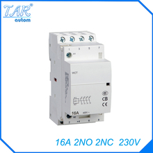 все цены на 4P 2NO 2N 230V 16A Modular Normally Closed Contactor with electric machincal types of contactor  Din rail Household ac contactor онлайн