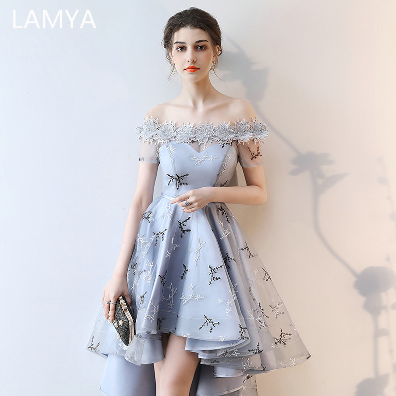 LAMYA  Embroidery Prom Dresses Short Front Back Long Tail Banquet Evening Dress 2019 Formal Party Gown Plus Size Elegant Dresses
