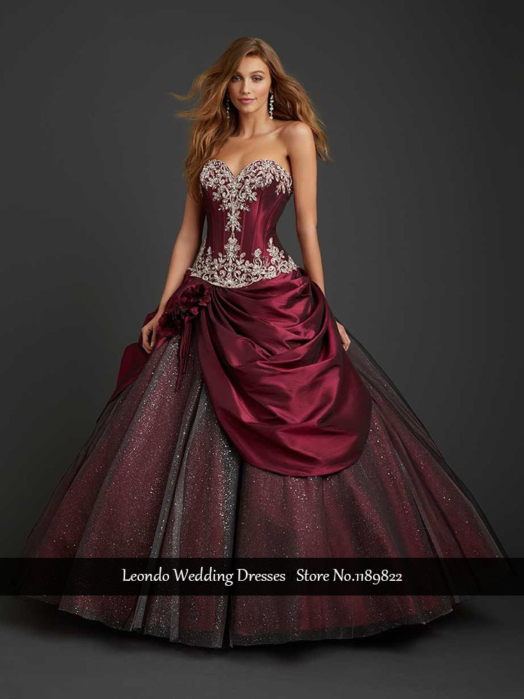 sweet 16 dresses dark red quinceanera dresses Appliques ...