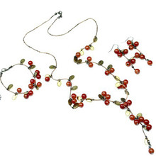 2019 New Arrival Red Cherry Jewellery Set Fashion Korean Cute Fruit Series Necklace Set Summer Refreshing Jewelry For Women Girl