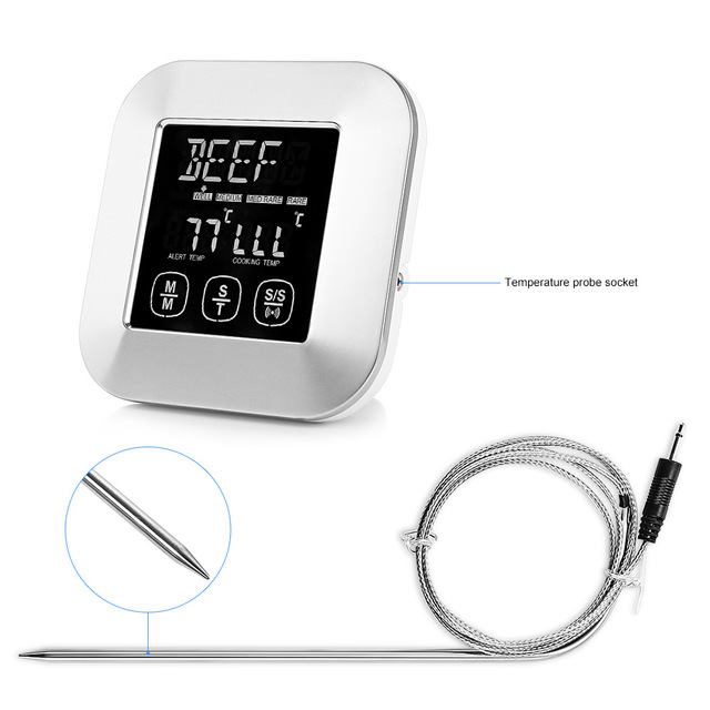 Digital Meat Thermometer Stainless Probe Wireless BBQ DIY Food Cooking Thermometer Barbecue Thermometer Temperature Alarm Tools