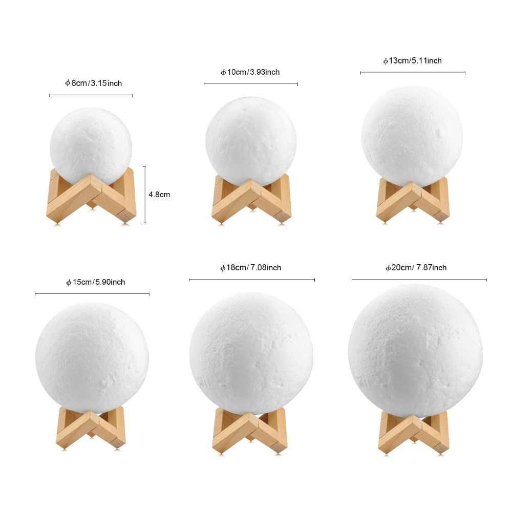 AIMENGTE 3D печать Луны лампа Перезаряжаемые настольные лампы, RGB Цвет изменить сенсорный переключатель Спальня 3D lunar Moon лампа украшение дома