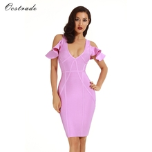 Ocstrade New Arrival Bandage Dress 2017 High Quality lilac Elegant Women's Party Dress