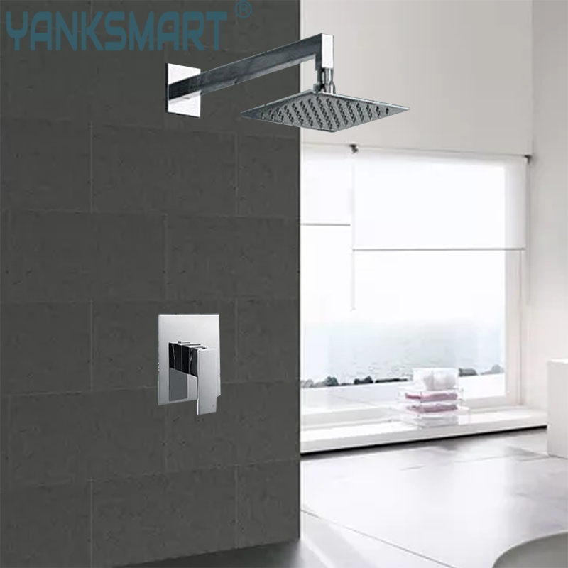 YANKSMART high quality Perfect Luxury Hot Sale Square Rain 8 Shower Head Wall Ceiling Mounted Top Over-head Shower Sprayer luxury led color changing golden brass rain round shower head wall mounted over head sprayer