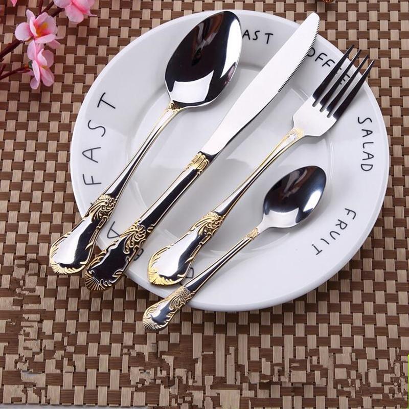 24pcs KuBac Hommi Gold Plated Stainless Steel Dinnerware Set Dinner Knife Fork Set Cutlery Set Gold