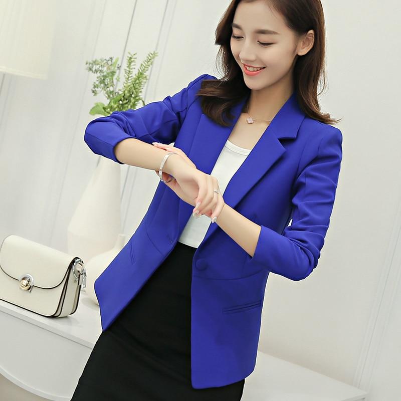 2018 Winter Women Casual Blazer Jackets Female Single Button Suit Coats Lady Outerwear Coat Girls Long Sleeve Suit Jackets