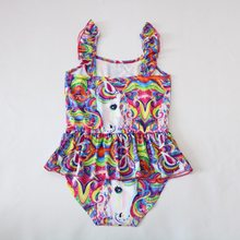 Baby Girls Unicorn Ruffles Tutu Romper Jumpsuit Clothes 2018 New arrived Outfits Children Princess dress girl Swimsuits(China)