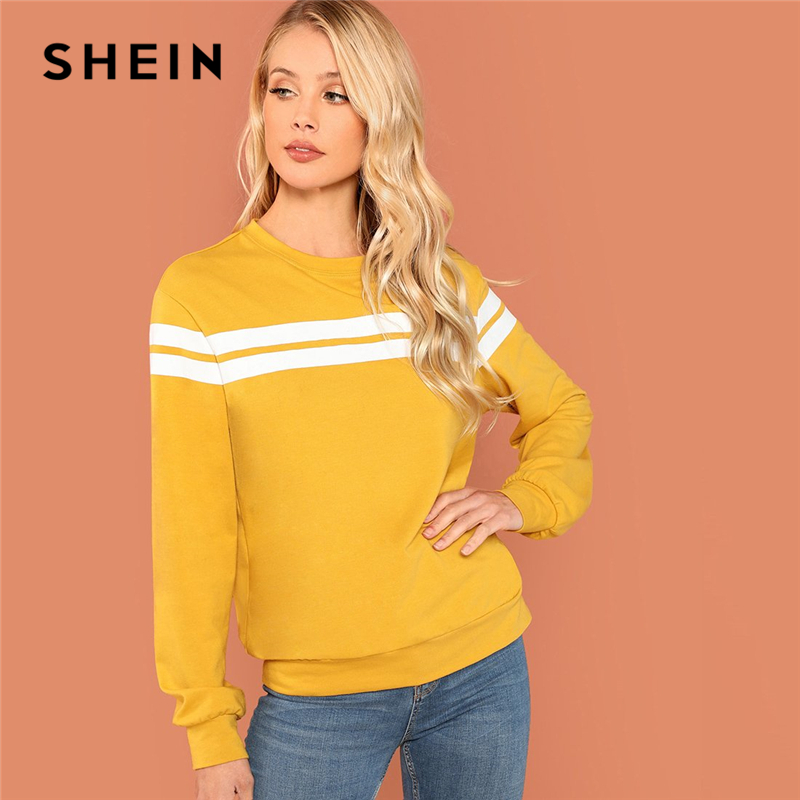 SHEIN Mustard Striped Tunic Pullovers Casual Streetwear Round Neck Long Sleeve Sweatshirts Women Autumn Minimalist Sweatshirts