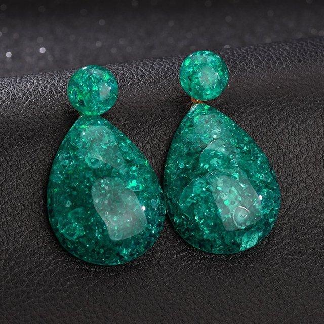 DIEZI Trendy Vintage Resin Water Drop Earrings For Women Fashion 7 Colors Drop Dangle Earrings Girls Statement Jewelry Gift