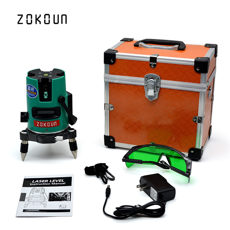 купить US PLUG ZOKOUn Self-leveling 360 degrees rotary laser level meter could work at -20 degrees celsius to 50 degrees celsius онлайн