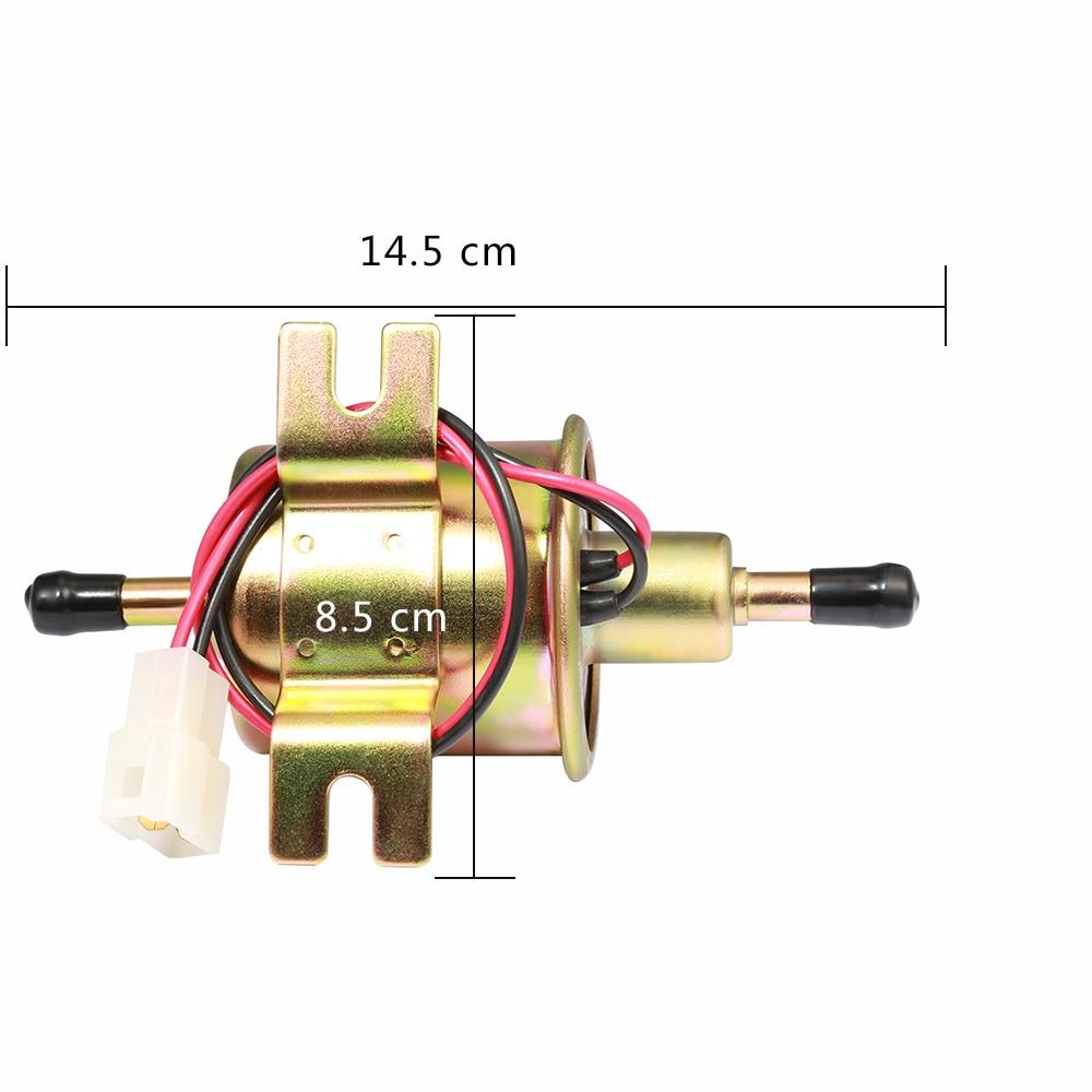 Nuevo 12 V bomba de combustible eléctrica tornillo de baja presión Cable de fijación Diesel gasolina HEP-02A para carburador de coche motocicleta ATV