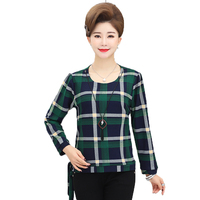 WAEOLSA Woman Plaid Blouses Red Green Top Side Bow Design Tunic Middle Aged Womens Casual Top