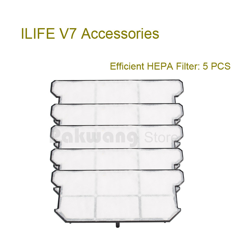 Original ILIFE V7 Robot Vacuum Cleaner Efficient HEPA Filter 5 pcs  supply from factory original ilife v7 primary filter 1 pc and efficient hepa filter 1 pc of robot vacuum cleaner parts from factory