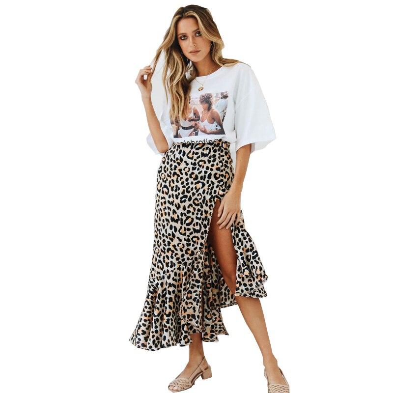 Sexy Leopard Skirts Women 2018 New High Waist Slim Wrap Ladies Skirt European Style Midi Skirt Bodycon Saias Femininas