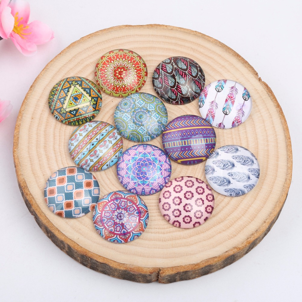 Onwear Mixed Feather Mandala Photo Round Glass Cabochons 10mm 12mm 14mm 18mm 20mm Diy Accessories For Earrings Bracelets