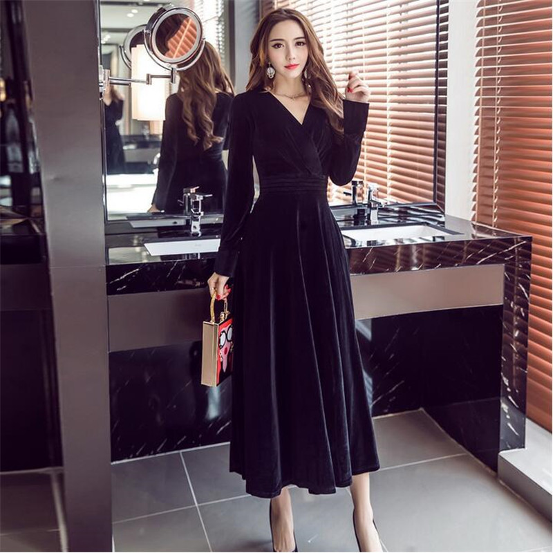 2017 Spring Evening Party Dresses Black Velvet Dress Women Vintage Sexy V-Neck Long Sleeve Brand Dress For Ladies Hot S0019