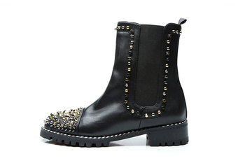 2018 new women black boots slip on women ankle booties flat spike stud boots ladies point toe rives stud boots