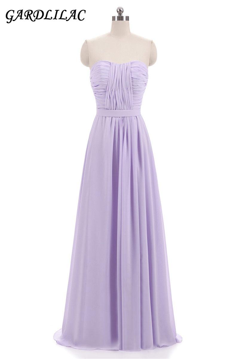 Nuevos vestidos de dama de honor de gasa lila rosada 2018 vestidos de - Vestidos de fiesta de boda