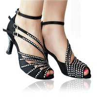 Black/Nude Rhinestone Woman Latin Ballroom Dance Shoes Salsa Tango Bachata Social Party Dance Shoes High Heels 7.5cm 1799