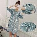 8906 # Arco Meia Manga Floral Impresso Camisas de Maternidade com Caixilhos Moda Verão Túnica Tops Roupas de Gravidez para As Mulheres Grávidas
