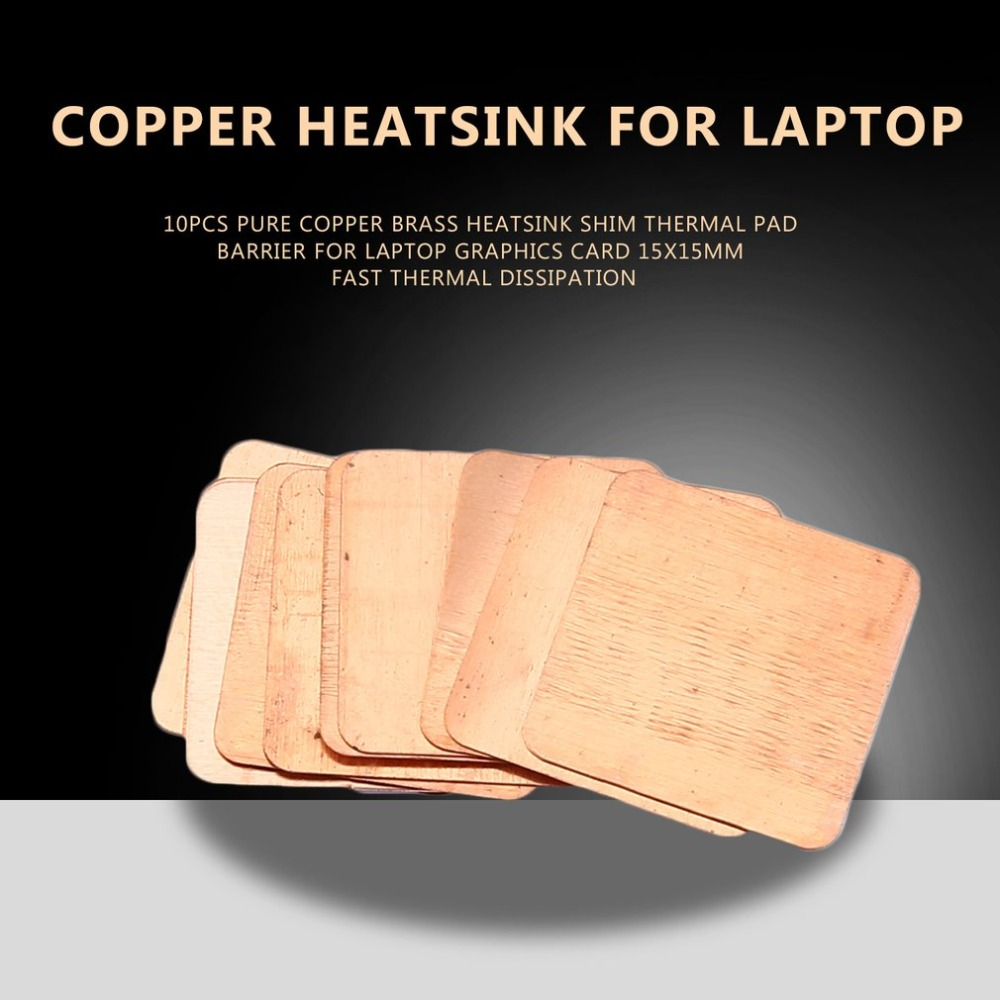 10pcs Pure Copper Brass Heatsink Shim Thermal Pad Barrier For Laptop Graphics Card 15x15mm Fast Thermal Dissipation New