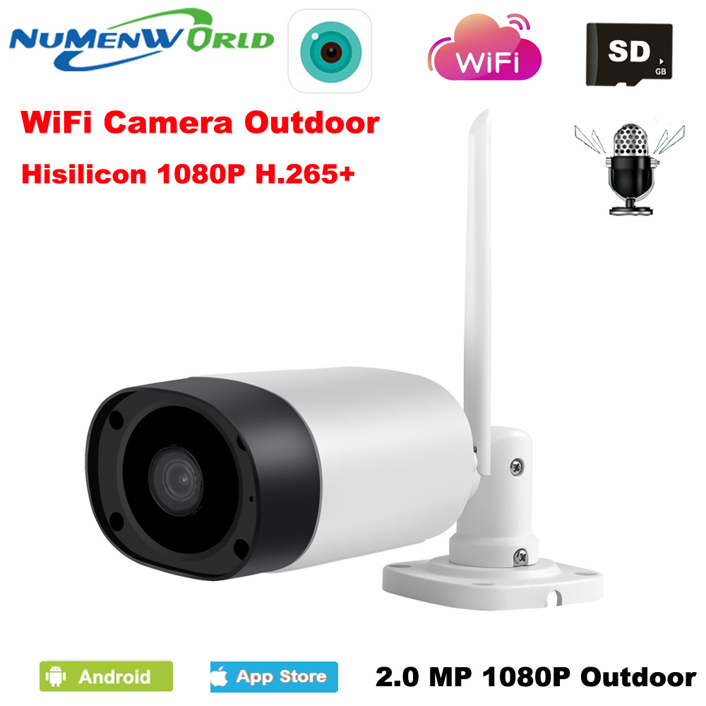 Étanche Wifi IP Caméra 1080 p HD P2P réseau Sans Fil IP Caméra IR Extérieur CCTV Caméra IP avec Externe SD slot Two way Audio