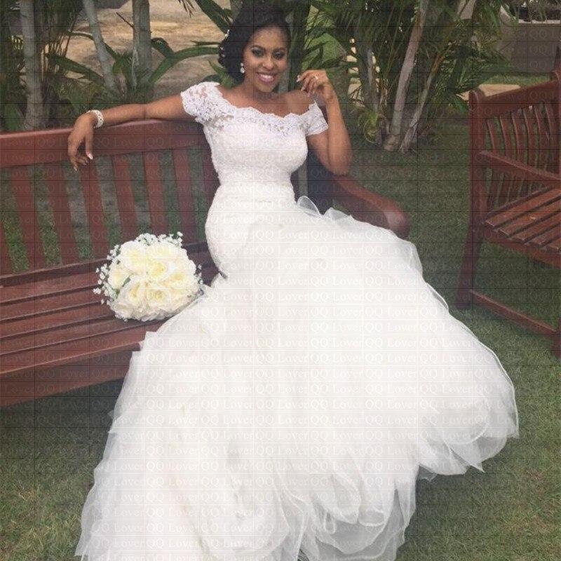 2019 New African Short Sleeves Mermaid Wedding Dress Off