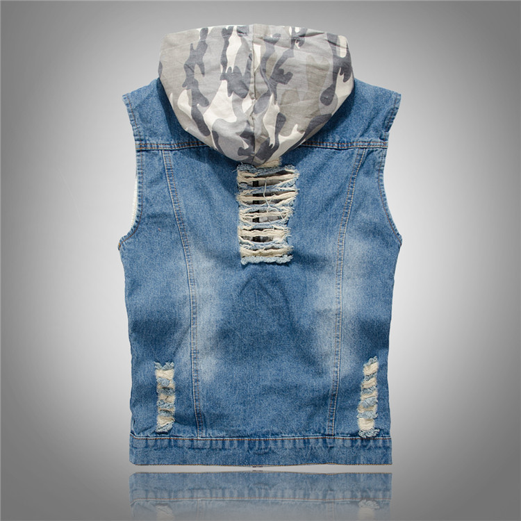 New mens fashion Slim hole jeans denim vest Menswear hooded men in camouflage vest denim vest Plus Size M L XL XXL 85E