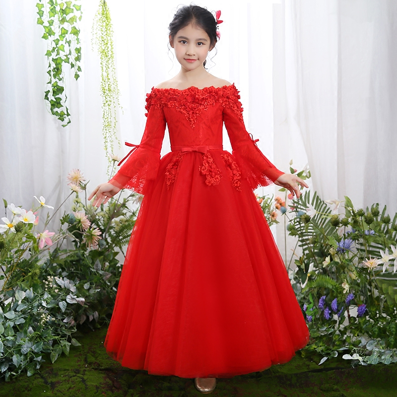 2019 New Children Girls Red Color Elegant Princess birthday Wedding Evening Party Ball Gown Lace Dress Cute Flare Sleeves Dress2019 New Children Girls Red Color Elegant Princess birthday Wedding Evening Party Ball Gown Lace Dress Cute Flare Sleeves Dress