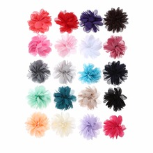 10pcs/lot 2.8 20Colors DIY Layered Chiffon Flowers Flat Back Hair Accessory Baby Headband For Wedding Ornament Accessories