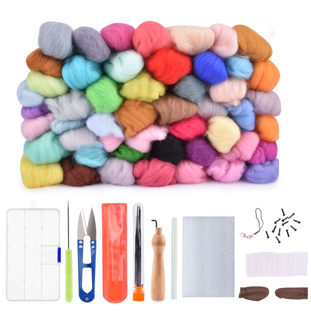 50pcs Wool Felt Fiber Needle Felting Wool Merino 70s Poke Roving Wool Wet Felting Needlework Accessory DIY Craft Project Supply