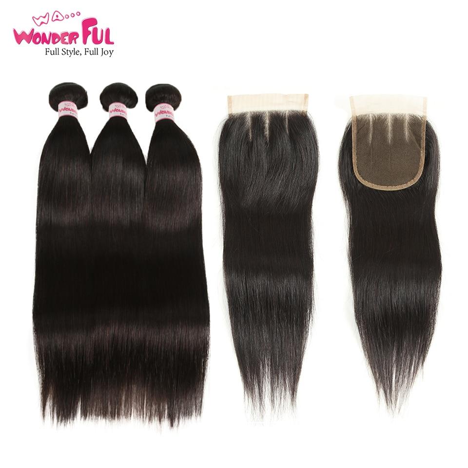 Joedir Hair-brasilianska hårvävsknippen med stängning, rakt hår - Skönhet och hälsa - Foto 1