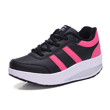 AILONGKA New 2017 Women Casual Shoes PU Leather Shoes for Women Height Increasing Shoes Plush Zapatillas Deportivas