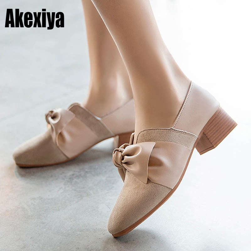 Fashion Female Leather Shoes Women Bow Pu Low-heeled Shoes Slip-On Brand Shoes Casual Vintage Quality Size 35-39 D1036