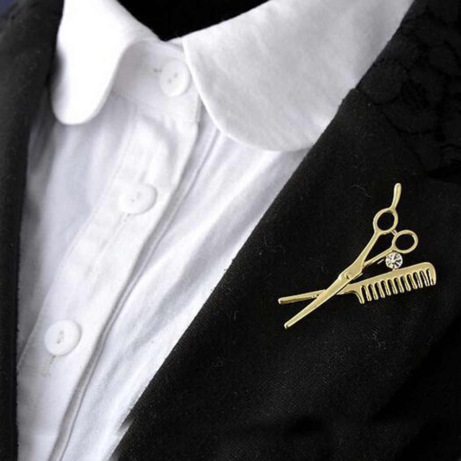 Charming Kristal Sisir Gunting Bros Broches Pin Up Aksesoris Bijoux Fashion Wanita Jewelry untuk Partai Hadiah Pernikahan XZ244