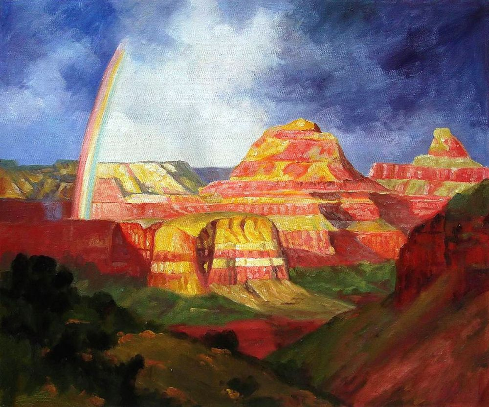 Landscape Canvas Art The Grand Canyon by Edward Potthast Oil Painting Wall Decor Handpainted Impressionist No Framed