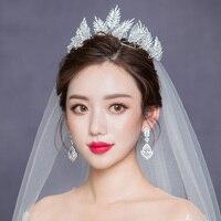 Bridal Hair Ornaments Wedding Tiara Crown for Girls Crystal Hairband Head Jewelry Women Accessories Silver Leaf Headband Diadem