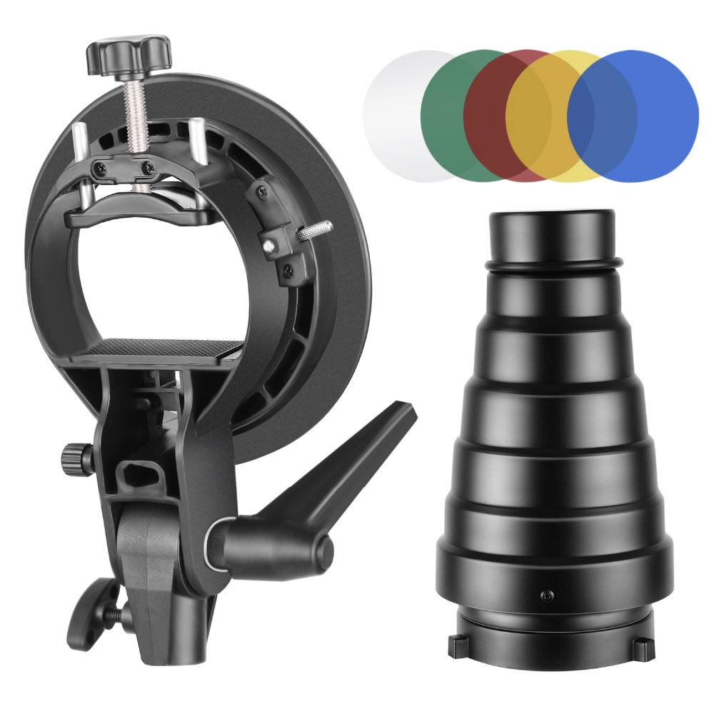 Neewer Photography S-Type Flash Bracket Holder and Conical Snoot Kit with Bowens Mount Honeycomb Grid 5 Pieces Color Gel Filters