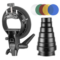 Neewer Photography S Type Flash Bracket Holder and Conical Snoot Kit with Bowens Mount Honeycomb Grid 5 Pieces Color Gel Filters