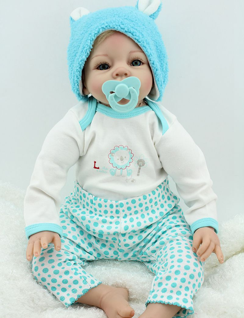 Lifelike Reborn Baby with Clothes Doll Set 22inch Silicone Living Girl Blonde Hair Blue Eyes