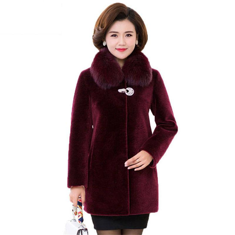 Women Winter Genuine Real Fur Overcoat Female Thick Warm Sheep Shearing Coat Clothes Ladies Wool Jacket Real Fox Fur Collar V400 image