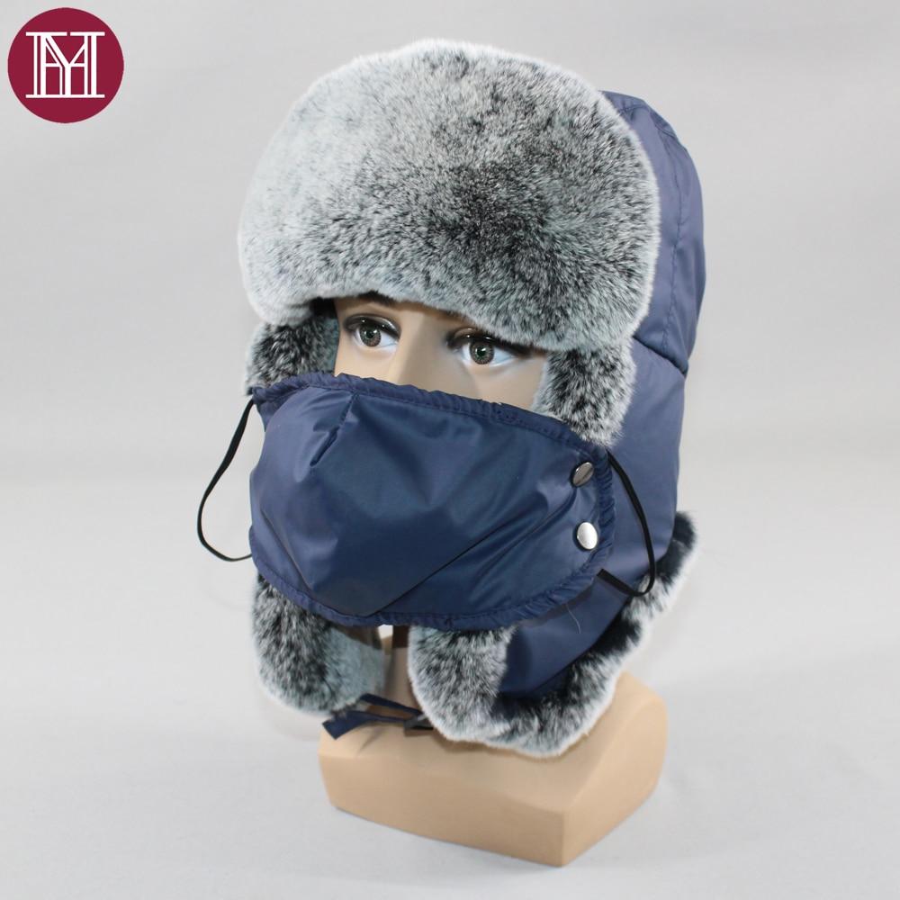 Russian Ushanka Hat Bomber-Hats Trapper-Cap Earflap Rex-Rabbit-Fur Winter Real Warm Men