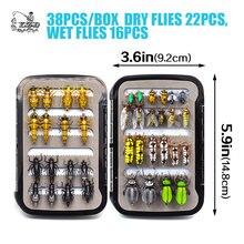 Promo Ultra mouche pêche mouches ensemble sec humide nymphe streamer mouche leurre attachant matériel kit boîte de pêche carpe truite brochet